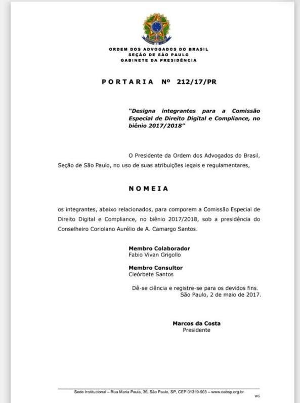 nomeacao-comissao-direito-digital-compliance-oabsp-cleorbete