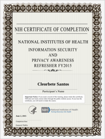 [2015] NIH Information Security and Privacy Awareness Refresher