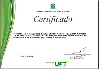 II Forum de Tecnologia do Tocantins UFT